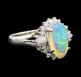 Opal and Diamond Ring - Platinum