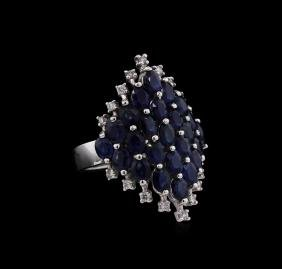 5.94 ctw Sapphire and Diamond Ring - 14KT White Gold