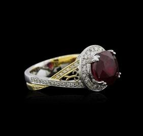 18KT Two-Tone Gold 4.65 ctw Ruby and Diamond Ring