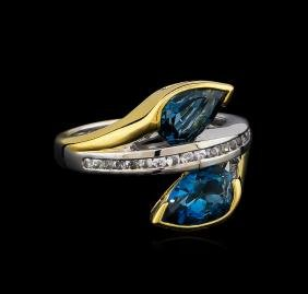 Crayola 2.60 ctw Blue Topaz and White Sapphire Ring -