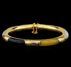 Jade Bangle Bracelet - 14KT Yellow Gold