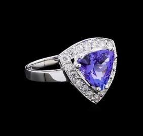 2.52 ctw Tanzanite and Diamond Ring - 14KT White Gold