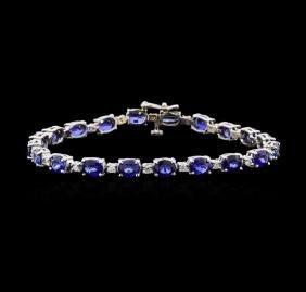 12.47 ctw Sapphire and Diamond Bracelet - 14KT White