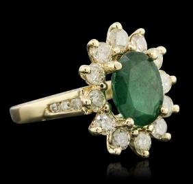 14KT Yellow Gold 2.44 ctw Emerald and Diamond Ring
