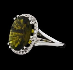 4.17 ctw Tourmaline and Diamond Ring - 14KT White Gold