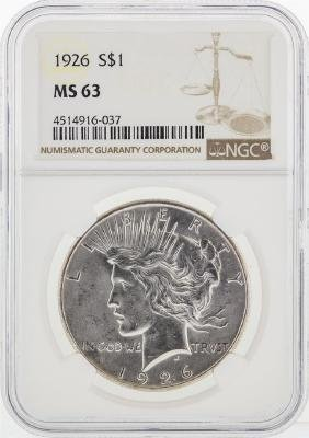 1926 NGC MS63 Peace Silver Dollar
