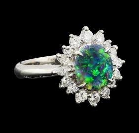 0.82 ctw Black Opal and Diamond Ring - Platinum