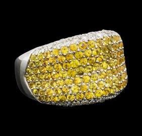 2.83 ctw Yellow Sapphire and Diamond Ring - 18KT White