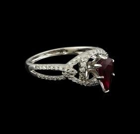 1.09 ctw Ruby and Diamond Ring - 18KT White Gold