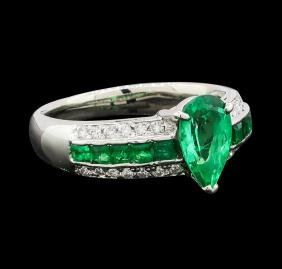 1 ctw Emerald, Emerald and Diamond Ring - Platinum