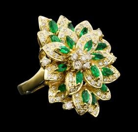 1.51 ctw Diamond and Emerald Ring - 18KT Yellow Gold