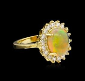 2.45 ctw Opal and Diamond Ring - 14KT Yellow Gold