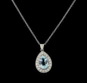 3.7 ctw Aquamarine and Diamond Pendant With Chain -