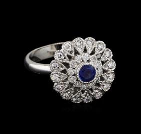 0.44 ctw Blue Sapphire and Diamond Ring - 14KT White