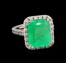 GIA Cert 10.54 ctw Emerald and Diamond Ring - 14KT