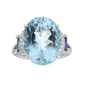 10.68 ctw Aquamarine, Sapphire, and Diamond Ring - 14KT