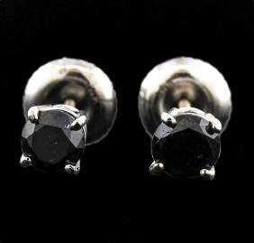 14KT White Gold 0.50 ctw Black Diamond Earrings