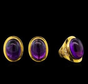 Amethyst and Diamond Earrings - 14KT Yellow Gold