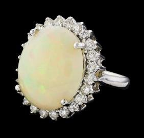 6.00 ctw Opal and Diamond Ring - 14KT White Gold