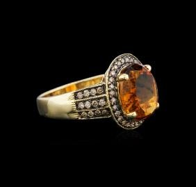 14KT Yellow Gold 5.53 ctw Citrine and Brown Diamond