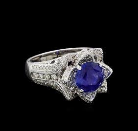 3.73 ctw Sapphire and Diamond Ring - 18KT White Gold