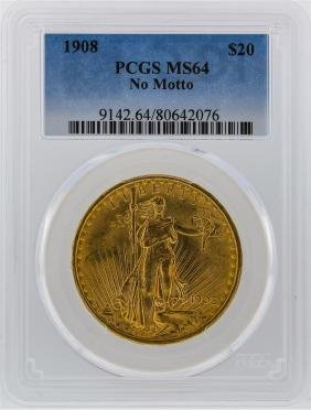 1908 PCGS MS64 $20 No Motto St. Gaudens Double Eagle