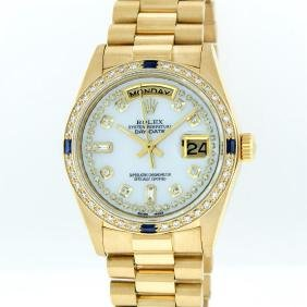 Rolex 18kt Gold Diamond And Sapphire Day-date Men's