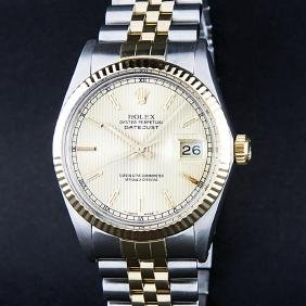 Rolex Two-tone Champagne Tapestry Index Dial Men's