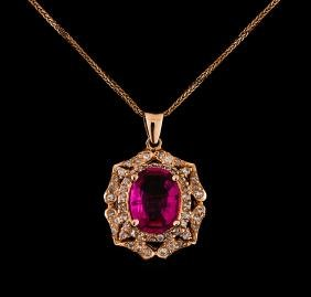 14KT Rose Gold 2.25 ctw Tourmaline and Diamond Pendant