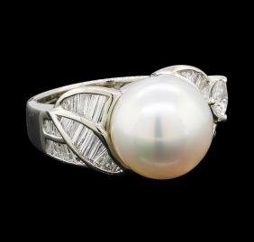Pearl and Diamond Ring - Platinum