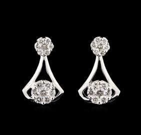 1.20 ctw Diamond Earrings - 14KT White Gold