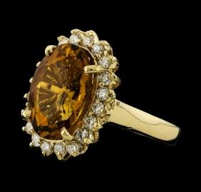 5.58 ctw Citrine and Diamond Ring - 14KT Yellow Gold