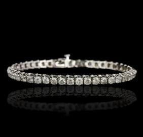 14KT White Gold 7.60 ctw Diamond Tennis Bracelet