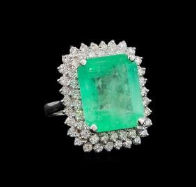 GIA Cert 13.45 ctw Emerald and Diamond Ring - 14KT