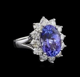 6.00 ctw Tanzanite and Diamond Ring - 14KT White Gold
