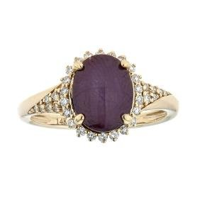 5.17 ctw Star Ruby and Diamond Ring - 14KT Yellow Gold