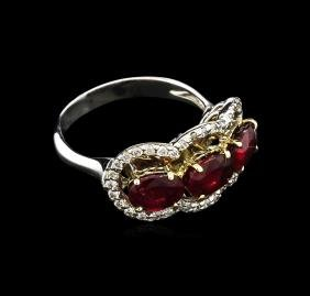3.16 ctw Ruby and Diamond Ring - 14KT Two-Tone Gold