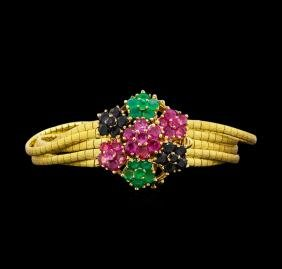 5.50 ctw Ruby, Emerald and Sapphire Bracelet - 14KT