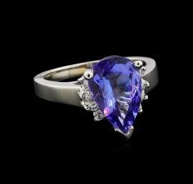 3.62 ctw Tanzanite and Diamond Ring - 14KT White Gold