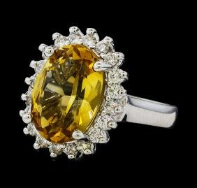5.37 ctw Citrine Quartz  and Diamond Ring - 14KT White