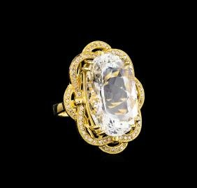 14KT Yellow Gold 22.07 ctw Aquamarine and Diamond Ring