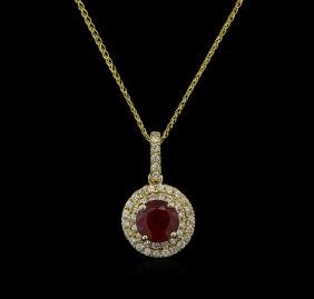 2.24 ctw Ruby and Diamond Pendant With Chain - 14KT
