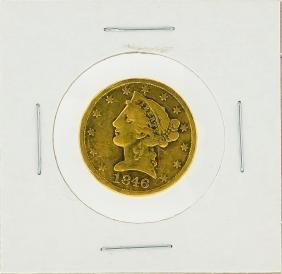 1846 $5 No Motto Liberty Head Half Eagle Gold Coin