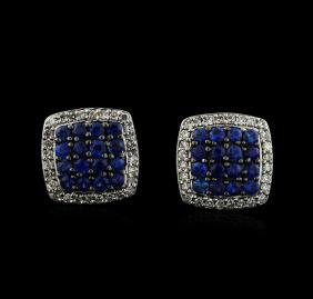 0.93 ctw Sapphire and Diamond Earrings - 14KT White