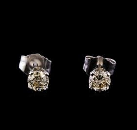 0.50 ctw Diamond Stud Earrings - 14KT White Gold