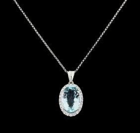 7.21 ctw Aquamarine and Diamond Pendant With Chain -