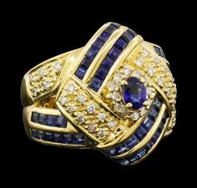 2.16 ctw Sapphire and Diamond Ring - 18KT Yellow Gold
