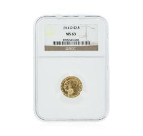 1914-D NGC MS63 $2.50 Indian Head Quarter Eagle Gold