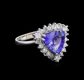 2.32 ctw Tanzanite and Diamond Ring - 14KT White Gold