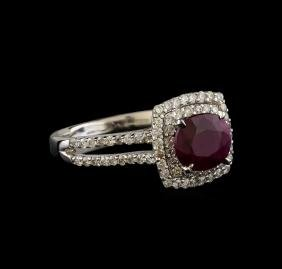1.50 ctw Ruby and Diamond Ring - 18KT White Gold